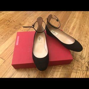 Valentino Garavani Tango Suede Ankle-Wrap Flat